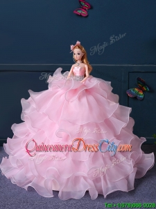 Hot Sale Organza Quinceanera Doll Dress in Baby Pink