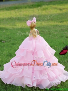 Latest Baby Pink Quinceanera Doll Dress in Organza