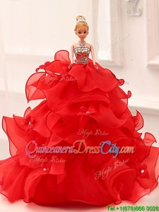 Modest Organza Quinceanera Doll Dress in Red
