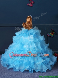 New Arrivals Organza Baby Blue Quinceanera Doll Dress