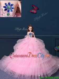New Arrivals Tulle Quinceanera Doll Dress in Baby Pink