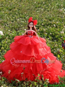 New Style Red Quinceanera Doll Dress in Organza