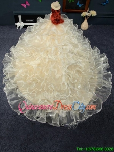 Perfect Organza Quinceanera Doll Dress in Champagne