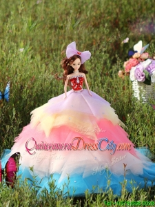 Popular Rainbow Colored Quinceanera Doll Dress in Tulle