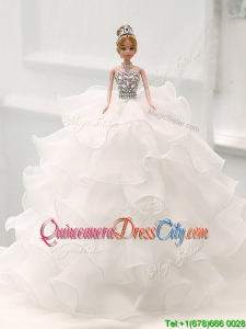 Romantic White Quinceanera Doll Dress in Organza