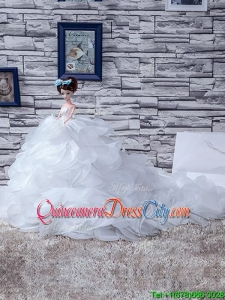 Sturning White Tulle Quinceanera Doll Dress