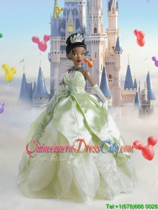 The Princess and the Frog Sturning Yellow Green Quinceanera Doll Dress