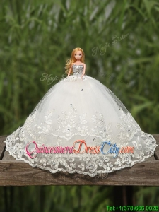 Top Seller Tulle Quinceanera Doll Dress in White
