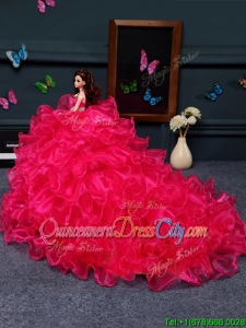 Wonderful Organza Quinceanera Doll Dress in Coral Red