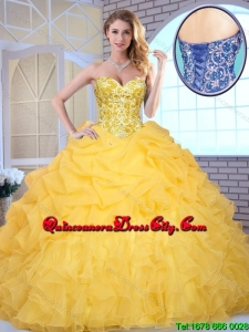 2020 Elegant Yellow Quinceanera Gowns with Beading and Ruffles