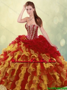 2020 Luxurious Beading and Ruffles Quinceanera Dresses in Multi Color