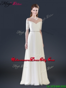 2021 Winter Perfect Empire Off the Shoulder Mother of the Dresses