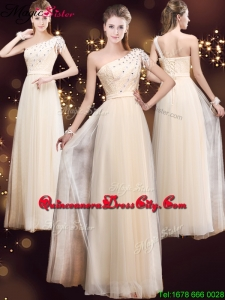 Elegant One Shoulder Dama Dresses with Appliques and Beading