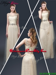 Empire Lace Mother of the Dresses with Appliques in Champagne