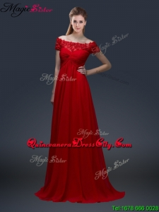 Simple Off the Shoulder Short Sleeves Red Mother of the Dresses with Appliques