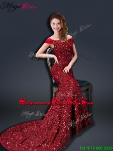 Winter Mermaid Off the Shoulder Sequins Mother of the Dresses in Wine Red