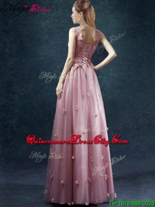Classical V Neck Mother of the Dresses with Appliques and Belt