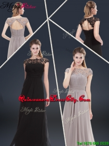 Elegant Empire Cap Sleeves Beading and Ruching Mother of the Dresses