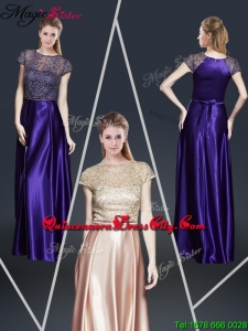 Empire Bateau Mother of the Dresses with Appliques and Belt for 2020