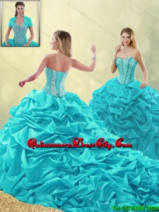 2020 Cheap Beading and Pick Ups Quinceanera Gowns with Court Train