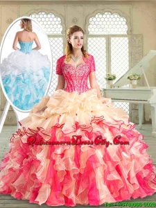 Latest Floor Length Quinceanera Dresses with Beading and Pick Ups