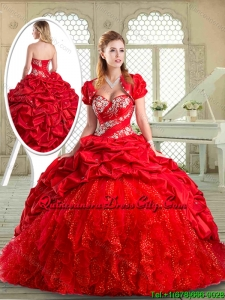 New Style Brush Train Sweet 16 Dresses with Beading and Pick Ups