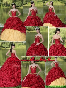 2020 Appliques and Pick Ups Brush Train Quinceanera Dresses