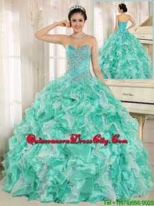 2020 Modern Beading and Ruffles Apple Green Quinceanera Dresses