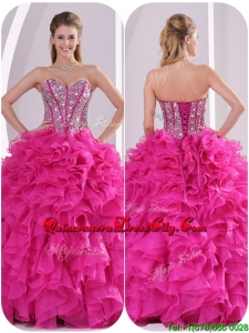 2020 Popular Ruffles and Beading Quinceanera Gowns in Fuchsia