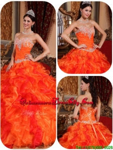 Exclusive Appliques and Beading Orange Quinceanera Gowns