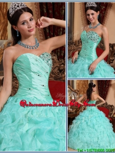 New Style Apple Green Sweetheart Beading and Ruffles Quinceanera Dresses