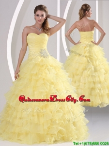 New Style Appliques and Ruffled Layers Quinceaners Gowns