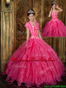 New Style Appliques and Ruffles Hot Pink Quinceanera Dresses