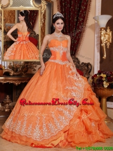 New Style Orange Red Ball Gown Floor Length Quinceanera Dresses