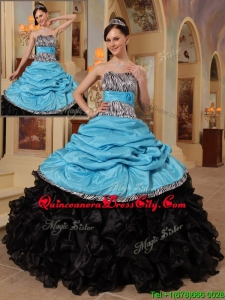 Newest Blue and Black Ball Gown Strapless Quinceanera Dresses