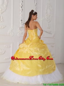 Top seller Ball Gown Appliques and Hand Made Flower Quinceanera Dresses