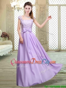 2020 Fashionable Square Cap Sleeves Lavender Dama Dresses with Belt