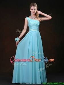 Inexpensive Empire One Shoulder Dama Dresses with Appliques