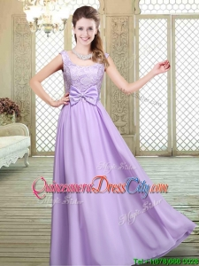 New Style Scoop Bowknot Lavender Dama Dresses for Fall