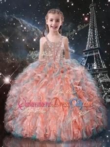 Best Ball Gown Straps Beading Little Girl Pageant Dresses for Fall