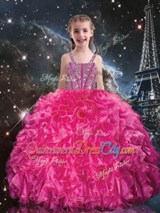 Hot Sale Straps Little Girl Pageant Dresses with Beading and Ruffles