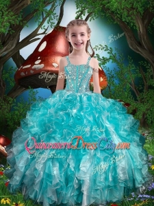 Hot Sale Straps Little Girl Pageant Dresses with Beading and Ruffles for Summer