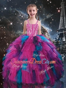 Petty Straps Beading Multi Color Little Girl Pageant Dresses for Winter