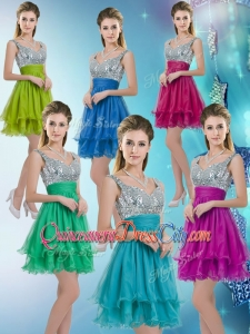 2020 Pretty Straps Short Dama Dresses with Sequins for Fall