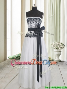 Cheap Strapless White and Black Long Dama Dress with Bowknot and Lace