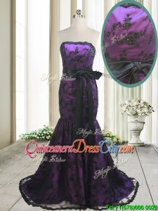 Hot Sale Laced and Bowknot Strapless Black and Purple Dama Dress with Brush Train