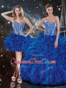 New Style Sweetheart Detachable Beading Quinceanera Skirts in Blue
