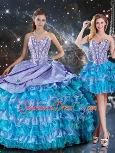 Luxurious Sweetheart Detachable Quinceanera Skirts with Beading and Ruffled Layers