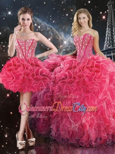 Luxurious Sweetheart Detachable Quinceanera Skirts with Beading for Fall