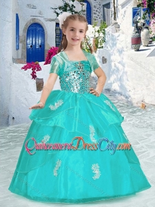 Best Spaghetti Straps Pageant Dresses for Kid with Appliques and Beading